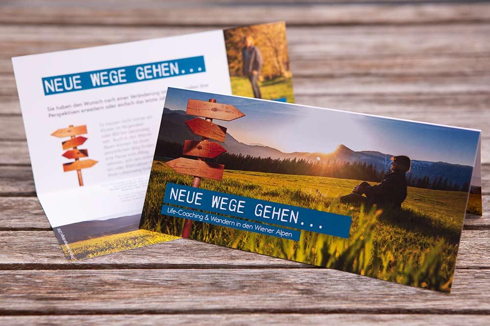 """Folder für Helga Zwarnig, """"Neue Wege gehen"""""""